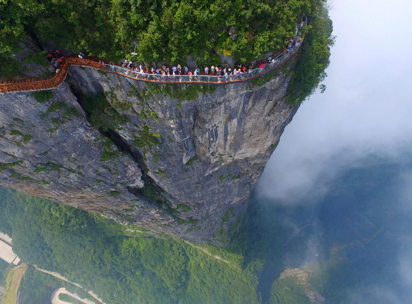 China opens longest glass bottom bridge in world