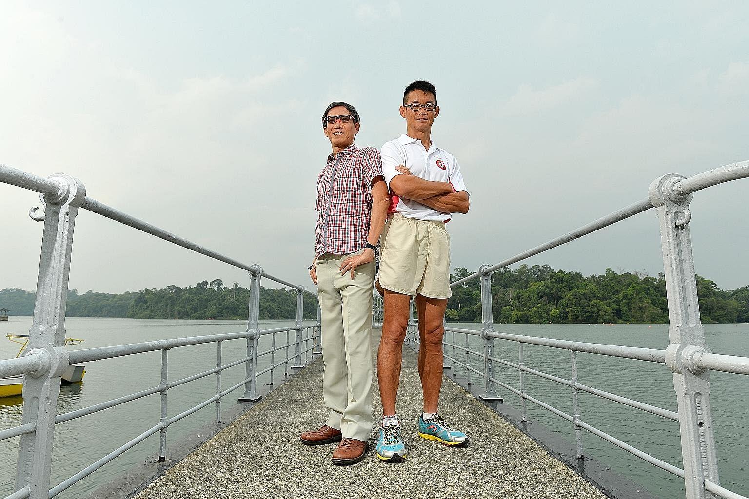 Ultramarathoners Lim Nghee Huat (left) and Yong Yuen Cheng ran 2,500km in 50 days to mark Singapore's jubilee.