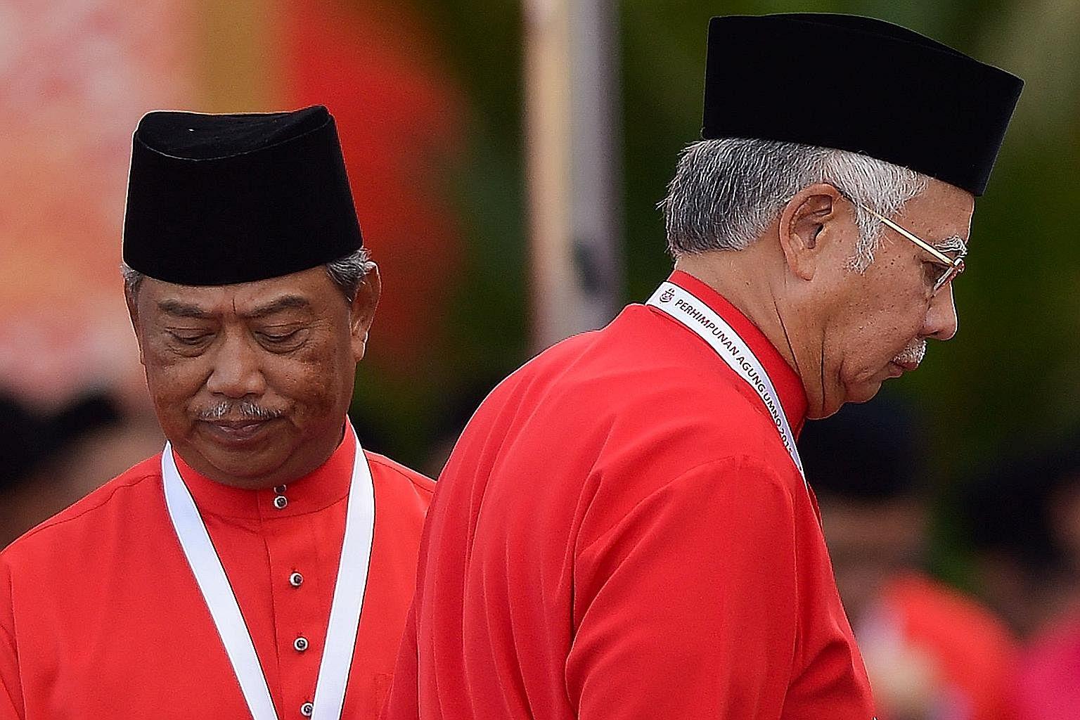 Mr Najib (right) sacked deputy prime minister Muhyiddin Yassin for raising uncomfortable questions.