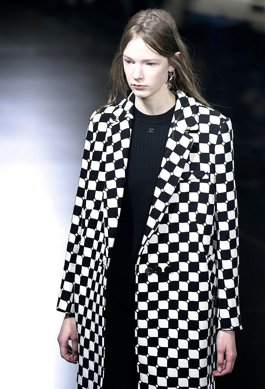 One of the self-heating coats presented at Courreges' Fall/Winter 2016-2017 ready-to-wear collection show in Paris on Wednesday.