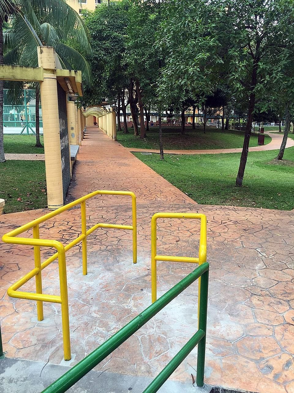 Railings were erected at Marsiling Drive last week to prevent motorcyclists from using the pedestrian footpath. However, they are an added obstacle to wheelchair users and those using mobility aids.