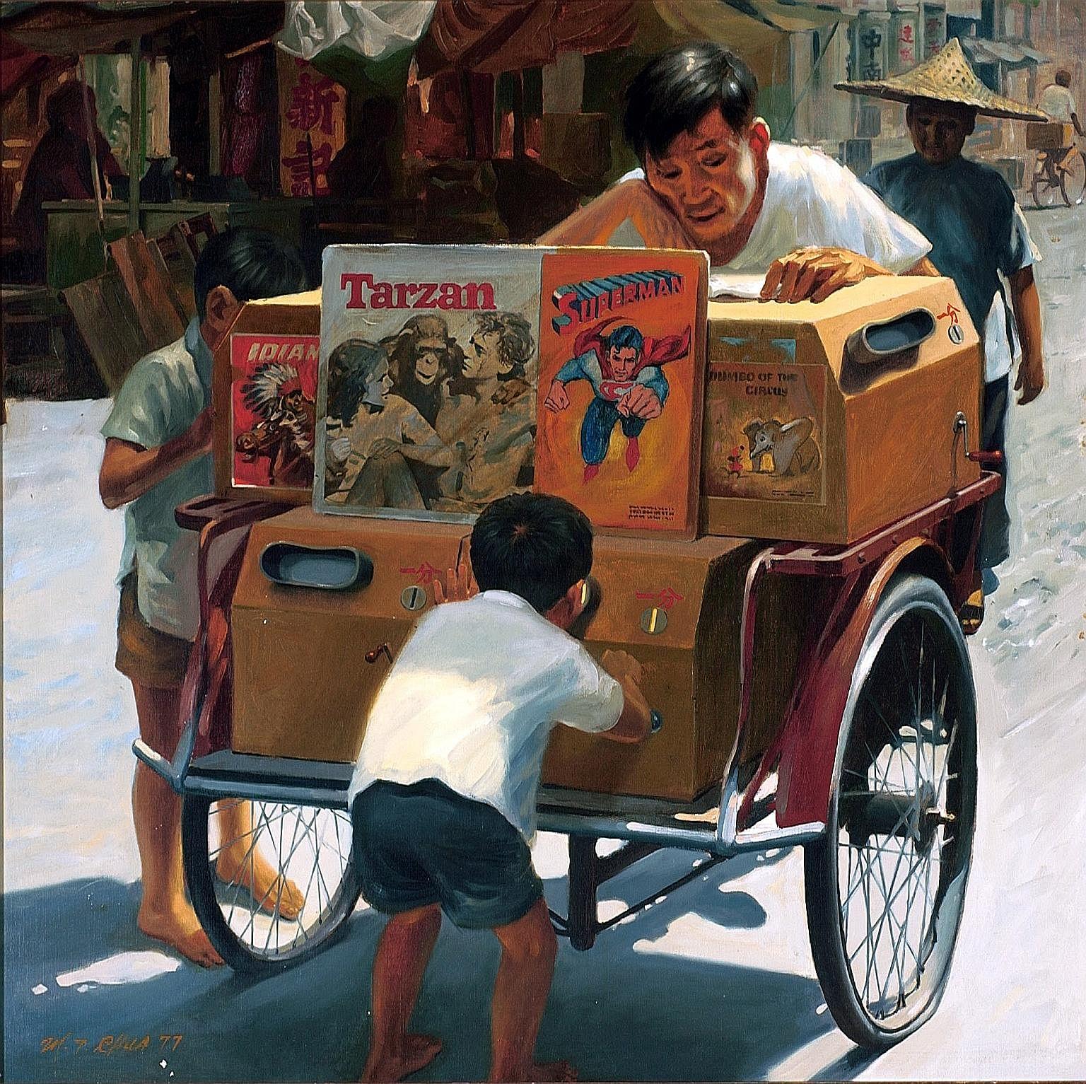 Film-maker Eric Khoo (above) chose Chua Mia Tee's Portable Cinema (left) as the basis of his short film.
