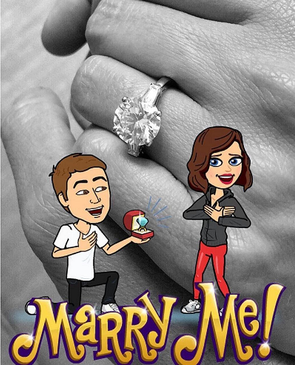 Miranda Kerr announced billionaire Evan Spiegel's (both left) proposal to her on Instagram (above).