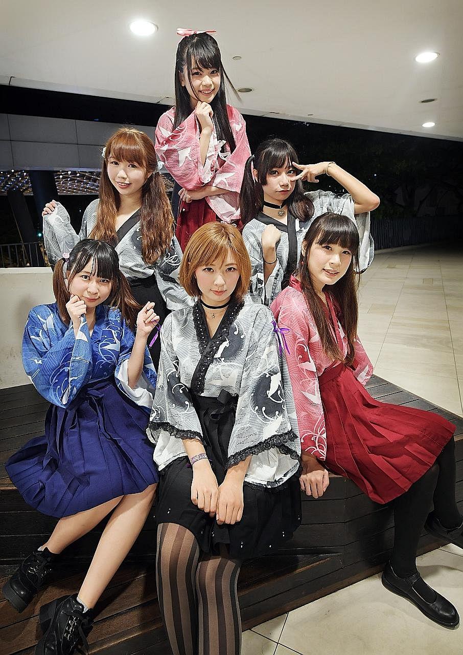 The girls from Tokimeki Jump (bottom row, from left) Elin Ng (Naru), 18; Moon Ng (Natsumi), 24; Jessica Wang (Yuika), 25; (second row, from left) Trina Lim (Yuki Mao), 21; Regina Lai (Reiko), 19; (top row) Joslyn Ang (Suzume), 22.