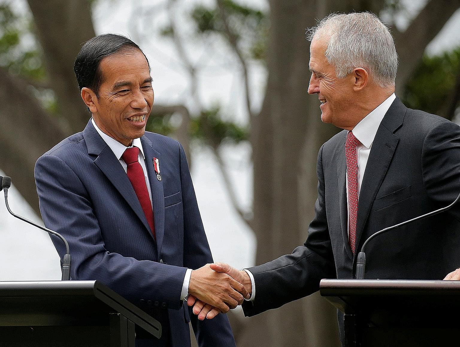 Indonesian President Joko Widodo and Australian Prime Minister Malcolm Turnbull in Sydney yesterday.