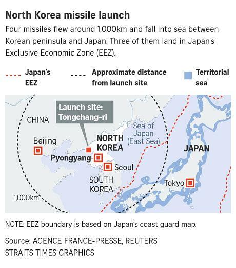 Japan, South Korea, US condemn North Korea's firing of 4