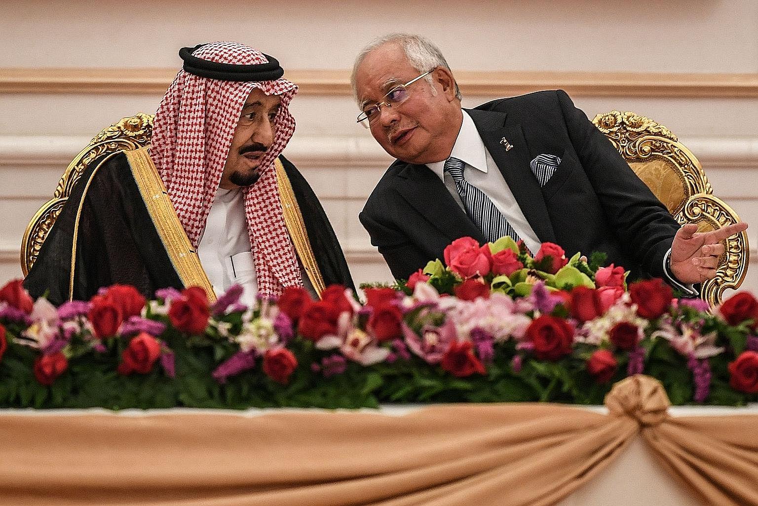 Malaysian PM Najib Razak with King Salman Abdulaziz Al Saud in Putrajaya on Feb 27.