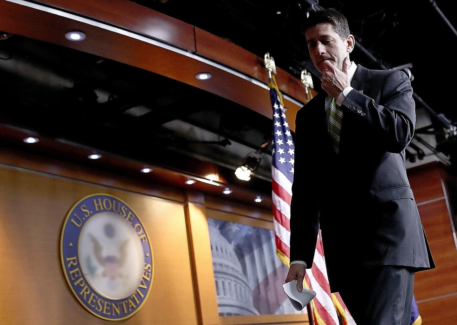 Mr Ryan leaving a press conference last Friday following the defeat of Mr Trump's healthcare Bill. He retains a grip on his job as US House Speaker, but is left to confront the realities of his failure.