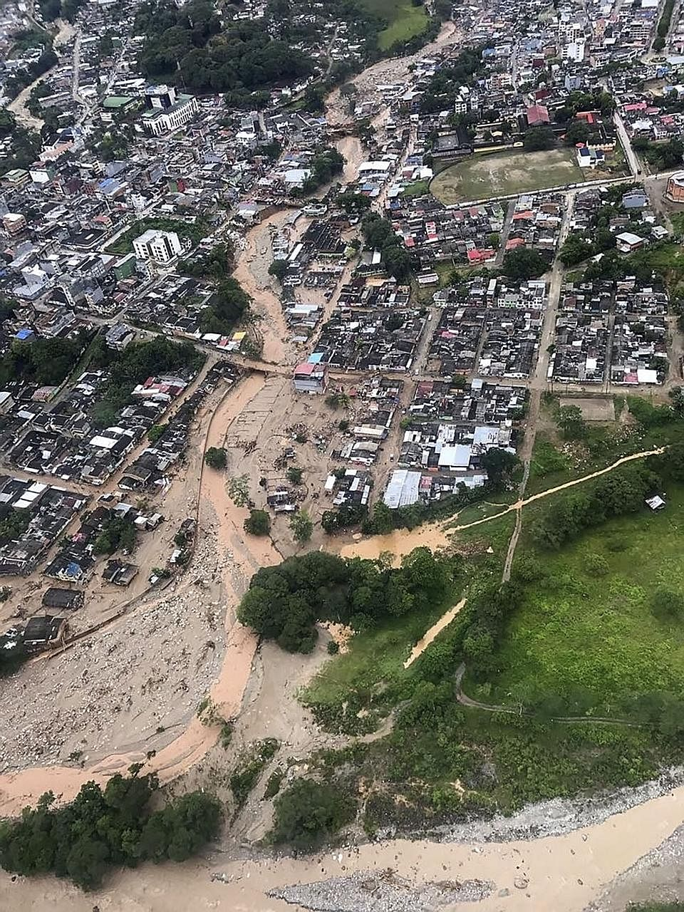 An aerial view of mudslides in Mocoa, caused by heavy rain last Friday. Colombian President Juan Manuel Santos said 30 per cent of monthly rainfall fell on Friday night, causing a rise of several rivers.