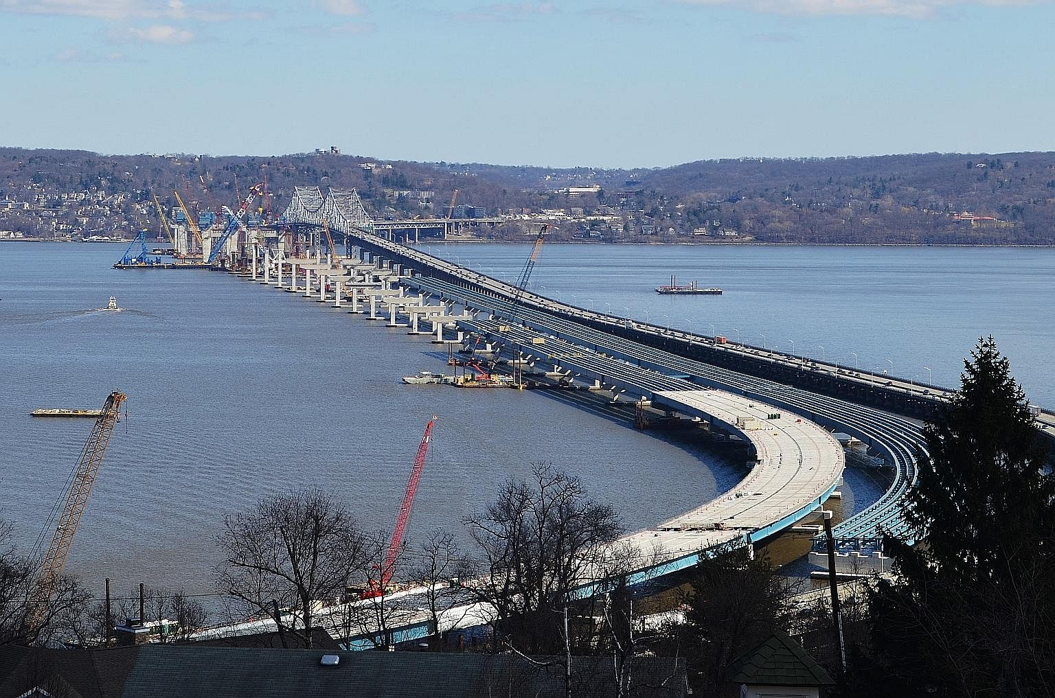 The New NY Bridge, to be completed next year, will replace the Tappan Zee Bridge over the Hudson River, built in 1955.