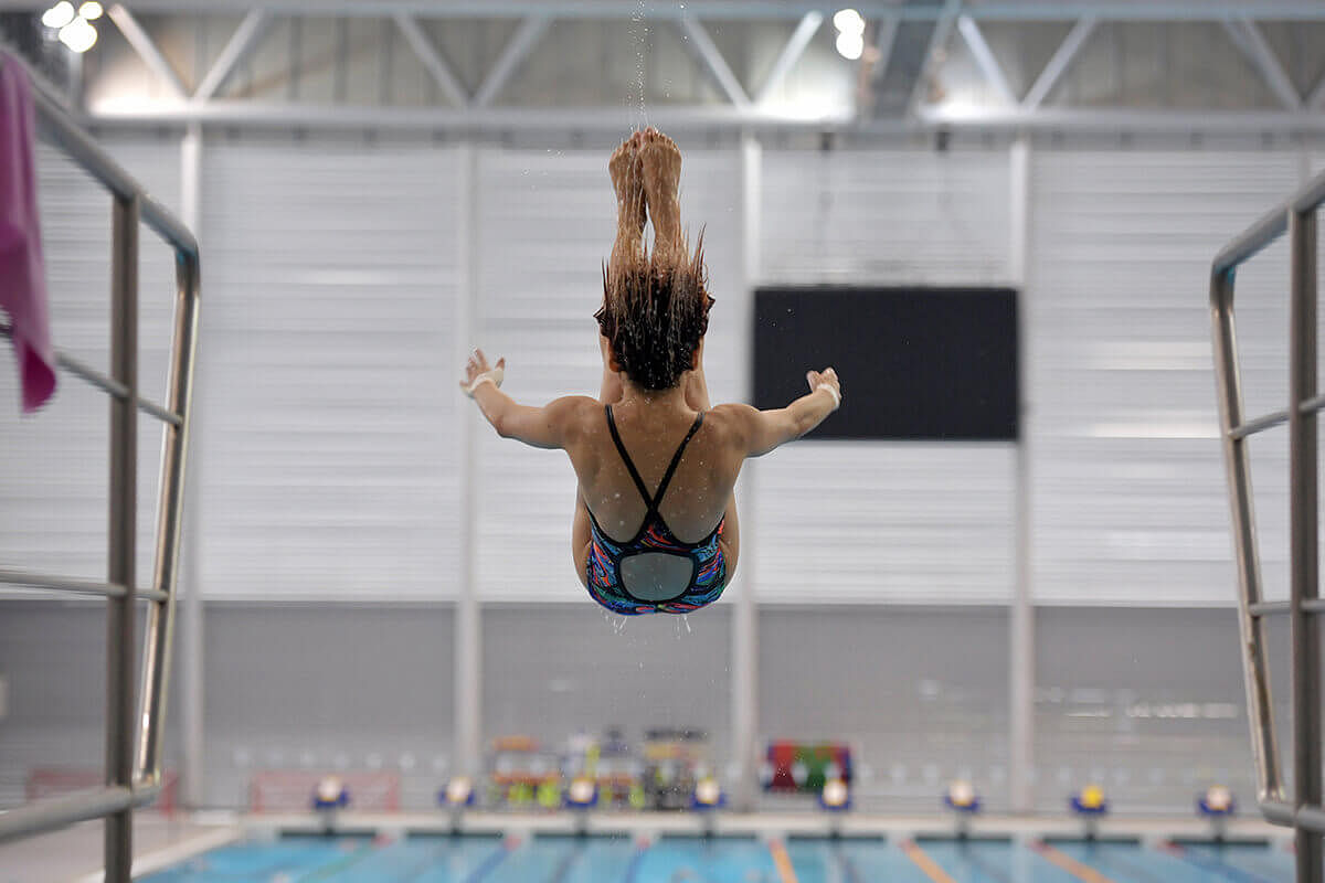 Myra Lee takes a dive during a training session on April 12, 2017.