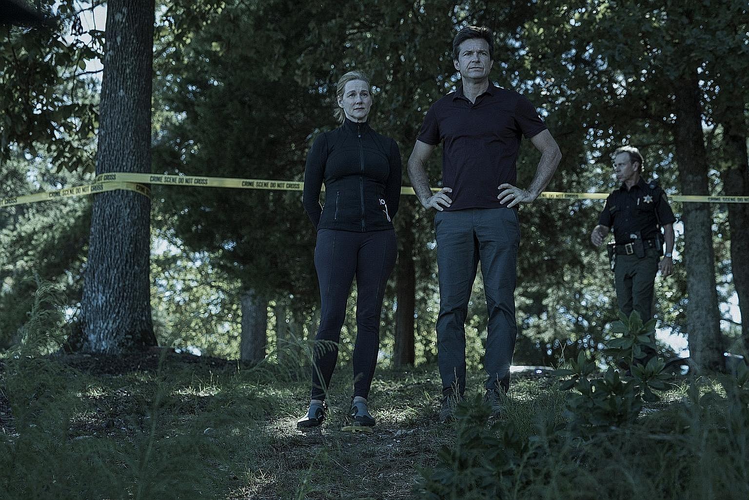 Laura Linney and Jason Bateman in Ozark.