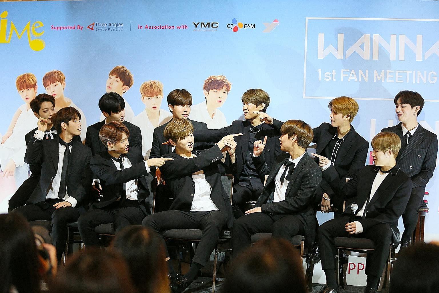 Wanna One are made up of (back row, from left) Lai Guan Lin, 16, Hwang Min Hyun, 22, Kim Jae Hwan, 21, Park Woo Jin, 17, Bae Jin Young, 17, Yoon Ji Sung, 26, and (front row, from left) Ong Seong Wu, 22, Lee Dae Hwi, 16, Kang Daniel, 20, Park Ji Hoon,