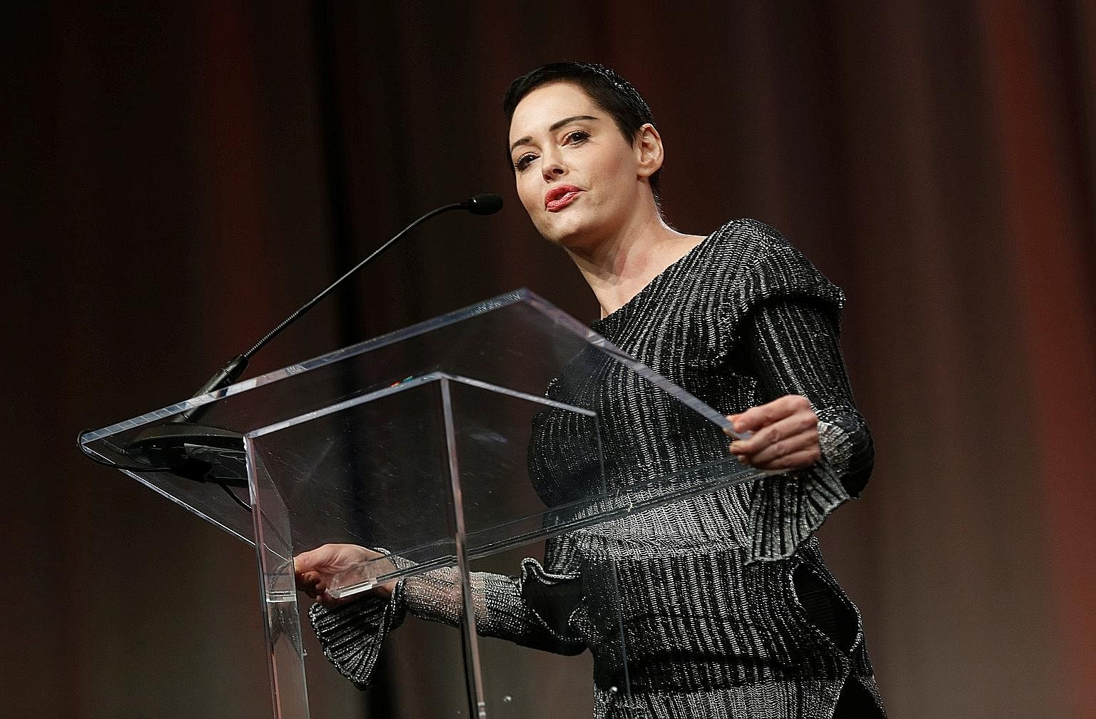 Actress Rose McGowan (left) has lashed out at her fellow actresses, who intend to wear black to the Golden Globes next month to protest sexual harassment and assault in Hollywood.