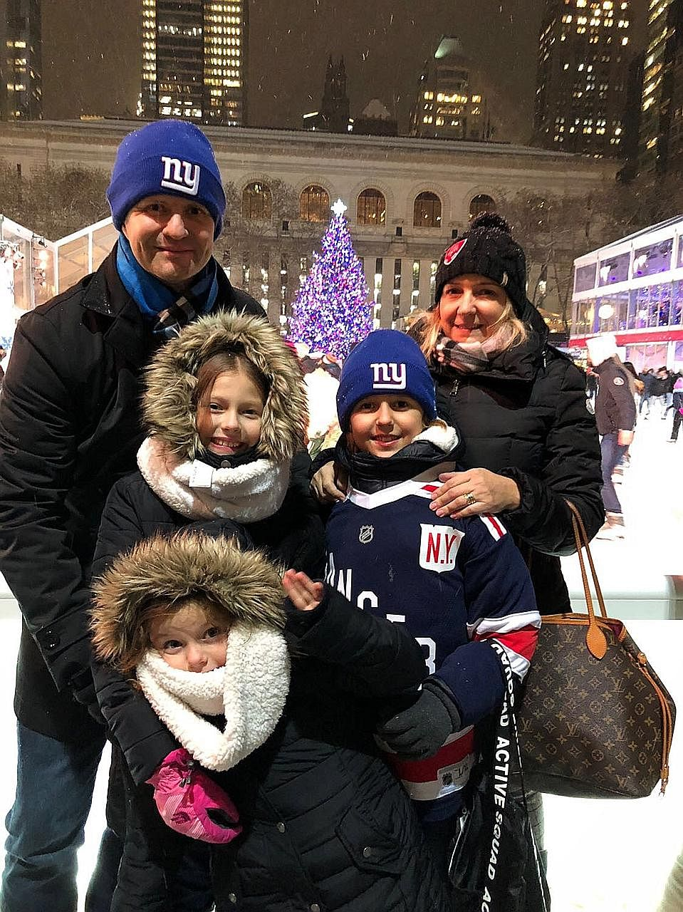 ChildAid star Lilo Baier (second from left) with her family - father Wolfgang Baier, sister Luna, brother Luca and mother Nicole - in New York. Lilo performed in the prestigious Carnegie Hall on Dec 16, singing to a sold-out audience How Far I'll Go,