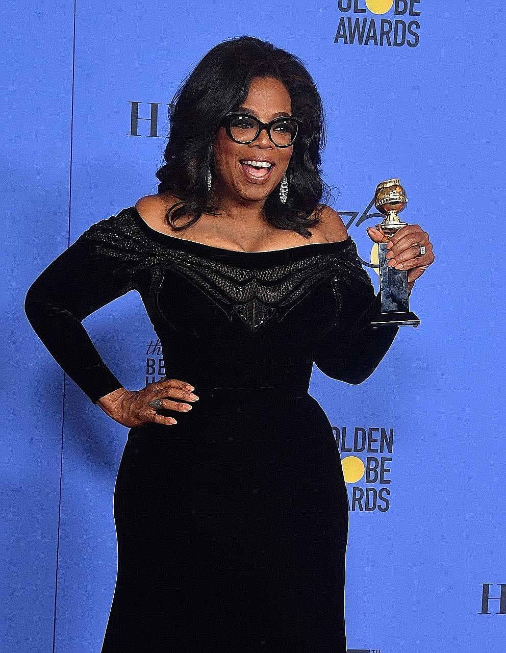 Oprah Winfrey during the 75th Golden Globe Awards on Jan 7. Her speech sparked calls for her to run for president in 2020.
