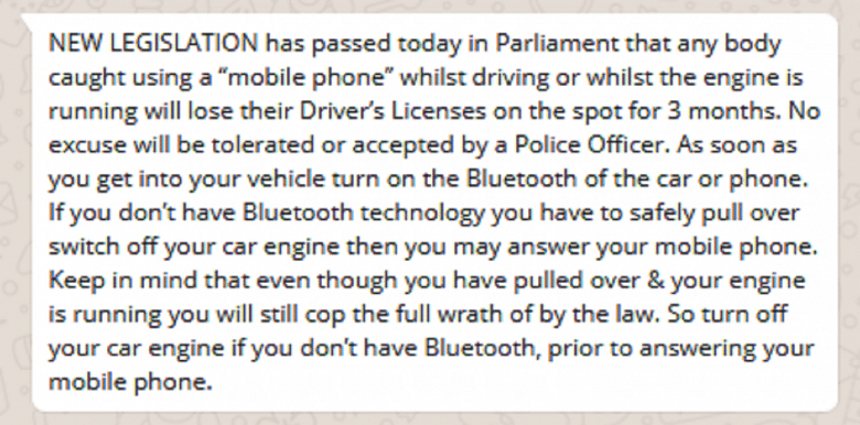 Text saying driver on phone while engine is idle will lose licence