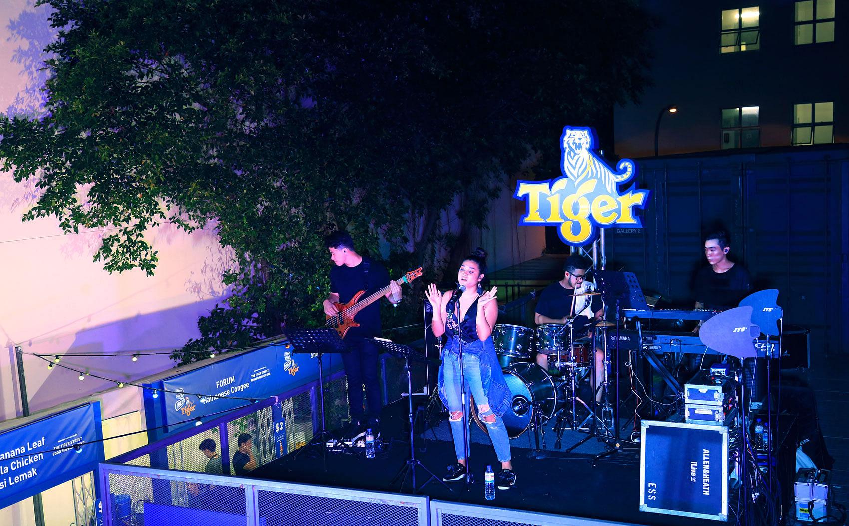 Local crooner Gail Belmonte at the Tiger Street Food Pop-up