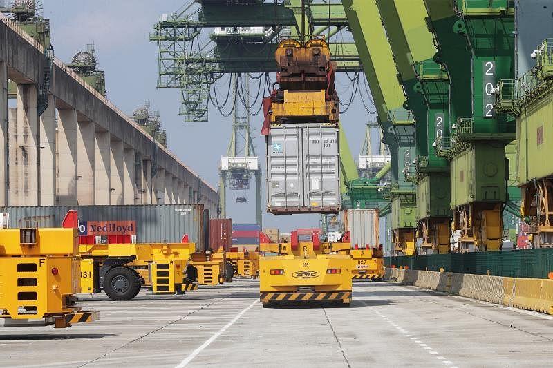 New automated cranes on trial at Pasir Panjang Terminal, in