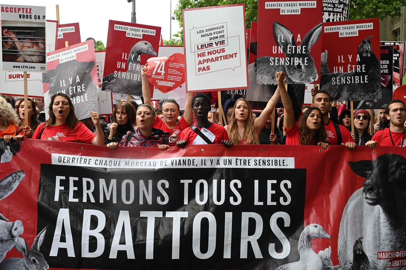 Animal rights activists march against abbatoirs in Paris, Europe
