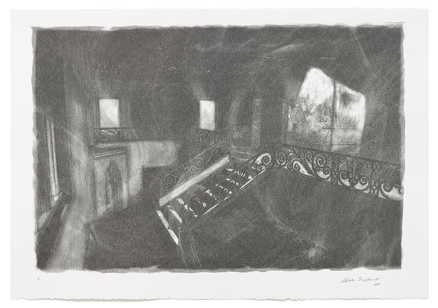 Phosphenes 2 (2018), screenprint with charcoal powder on paper. Performance titled Vestige at Goodman B-Sides 2018.