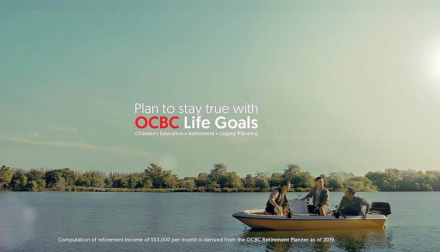 OCBC uses a tongue-in-cheek video of three friends who want to go fishing around the world to get people to think hard about retirement planning. The message is a bold one as it makes people wonder how they can retire happily if they don't have over