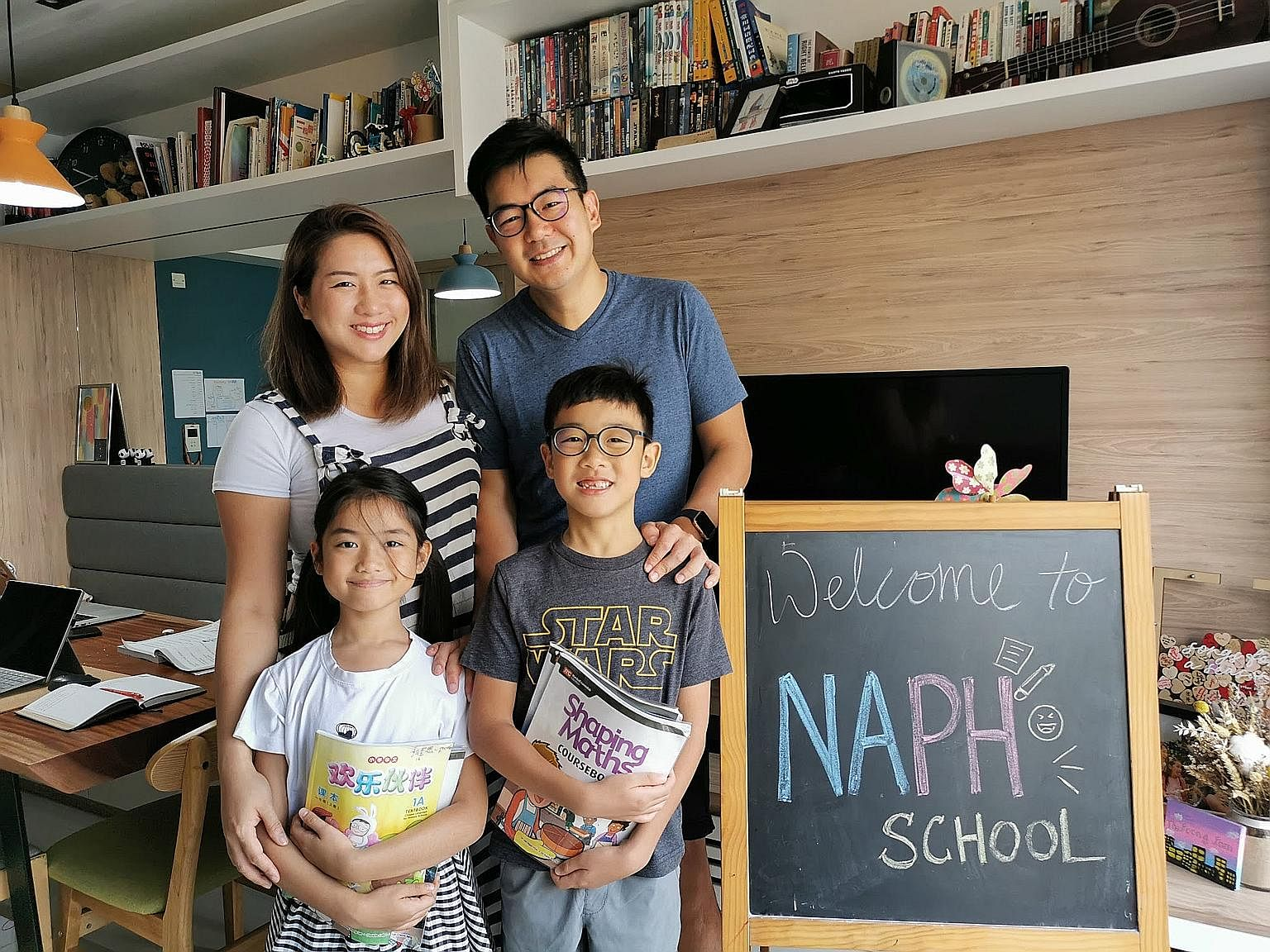 Parents Elvin and Esther Foong (above) created a school at home and got their kids to keep to a schedule.