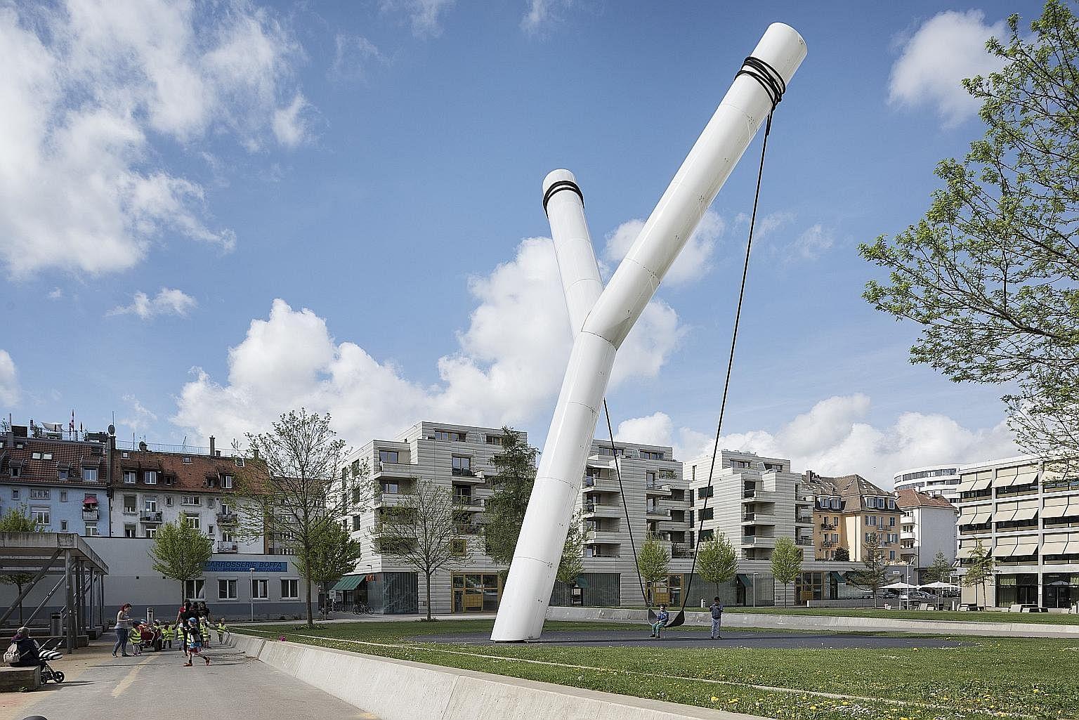 Y (above), The Five Pillars & La Boule D'or Centenaire Public Art, Zurich, Switzerland