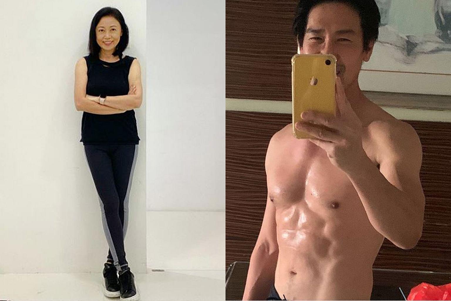 Xiang Yun (à gauche) a commencé un régime, réduit sa consommation d'alcool et a essayé de dormir tôt, tandis que son mari Edmund Chen (ci-dessus) a commencé des exercices de musculation et a maintenant un corps sculpté.