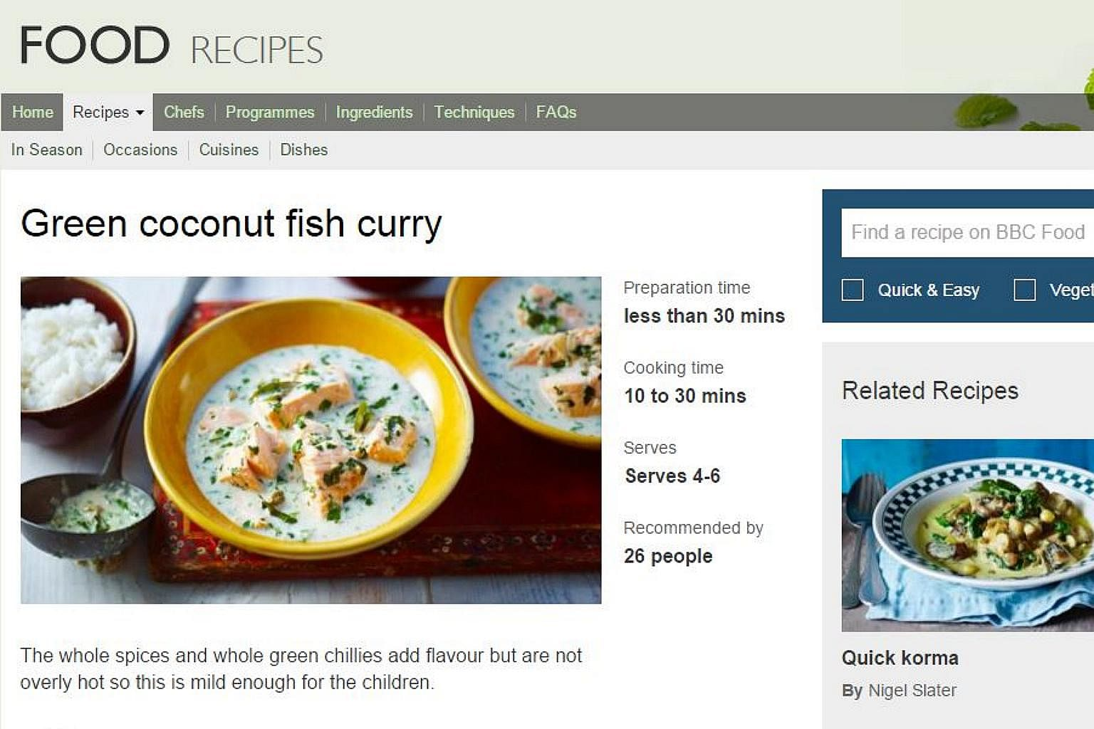 From fish curry to chocolate cake 10 all time favourite bbc online photo screengrab from bbc food website forumfinder Images