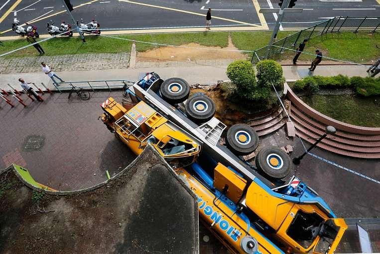 Driver arrested for crashing mobile crane into POSB branch