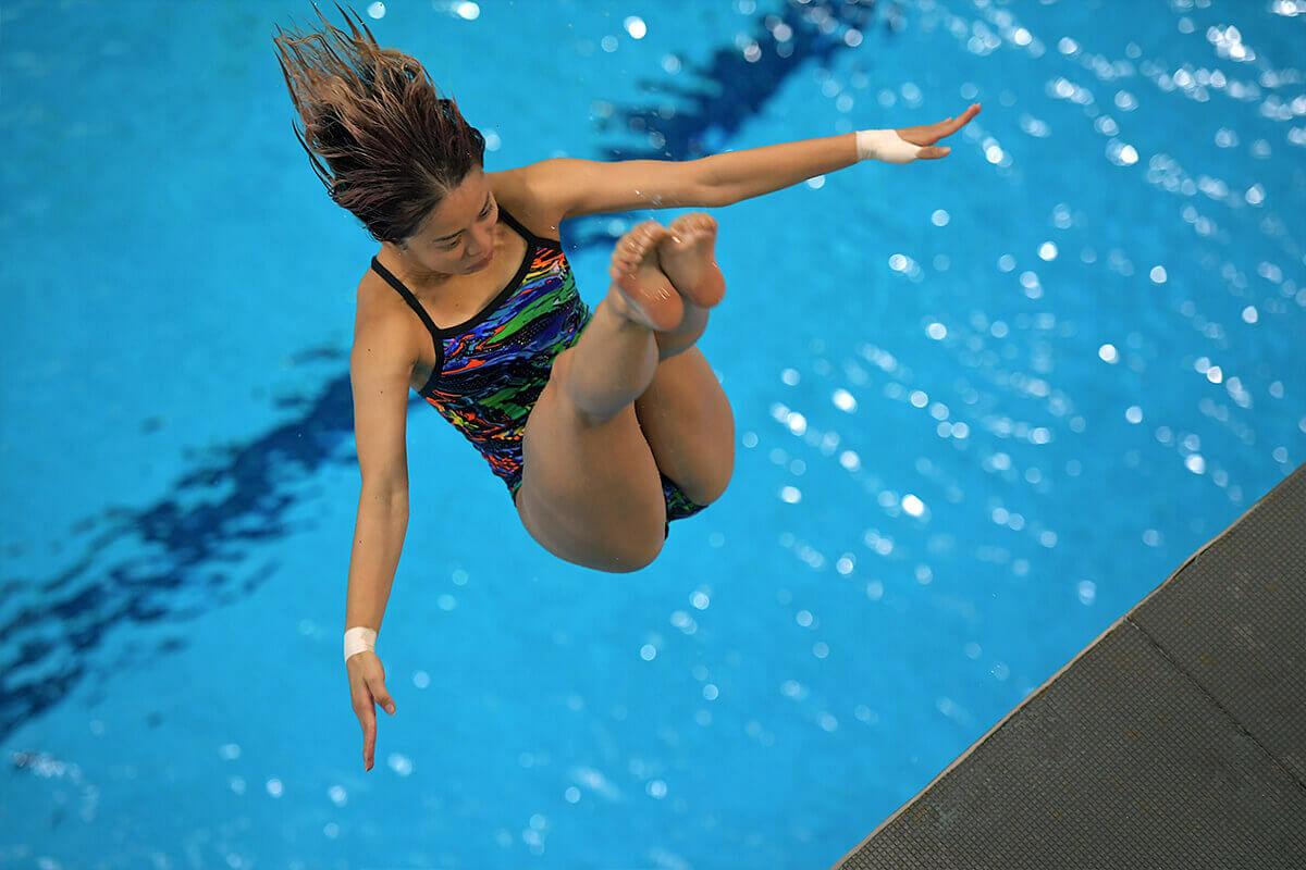 Singaporean diver Myra Lee in mid-air during a practice dive.