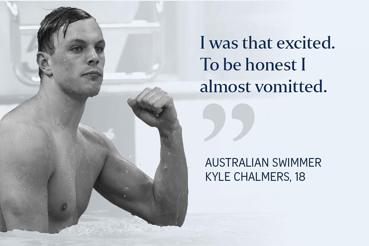 Australia's Kyle Chalmers celebrates after he won the men's 100m freestyle final.