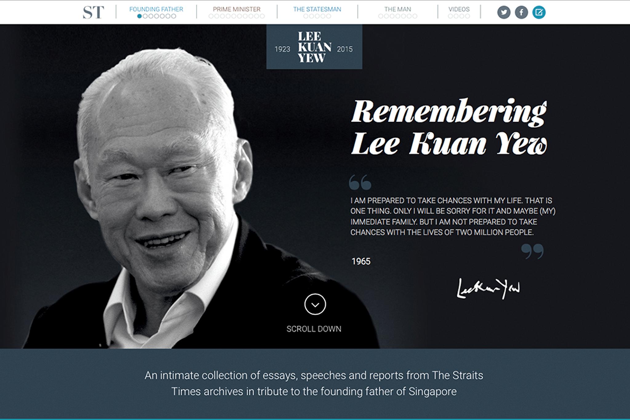 Remembering Lee Kuan Yew, microsite