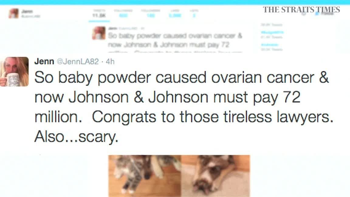 Johnson & Johnson must pay US$72 million over talc linked to woman's ovarian cancer