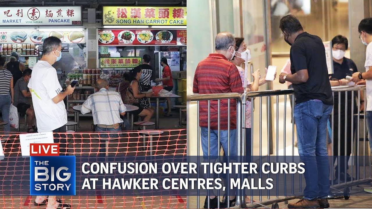 Kisah Besar: Langkah-langkah pembezaan vaksinasi berlaku di pusat penjaja, pusat membeli-belah, Berita Multimedia & Berita Teratas di S'pore