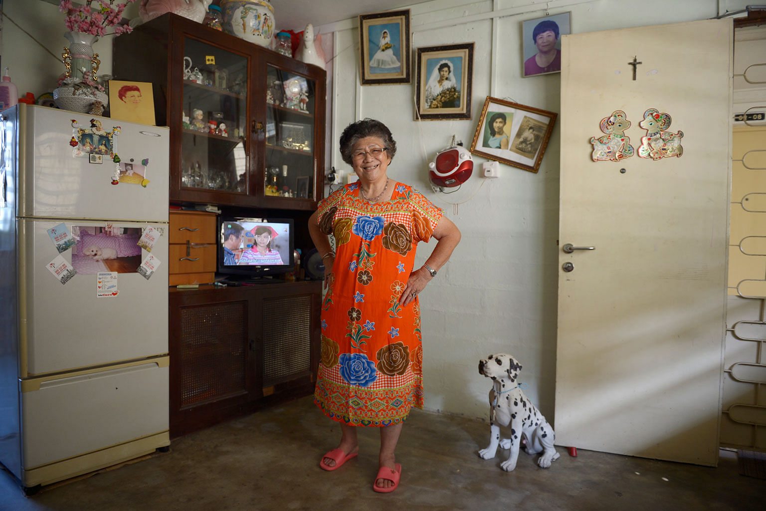 Madam Yee Dew Eng, 77, a 36-year resident of Dakota Crescent. The sprightly cleaner, who lives alone, loves dogs and once lugged home a heavy dalmatian sculpture that she saw discarded by the road in Katong.